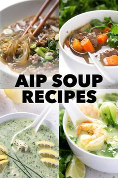 These AIP Soup Recipes are an easy way get a meal on the table - fast. Plus, you can easily pack in a diverse number of vegetables into just one bowl. Best Healthy Soup Recipe, Paleo Soup, Paleo Diet, Allergy Free Recipes, Paleo Recipes, Real Food Recipes, Turmeric Soup, Gluten Free Soup, Dairy Free