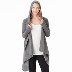 Plus Size Cuddl Duds Fleece Hooded Wrap Cardigan, Women's, Size: 2X/3X, Grey (Charcoal)