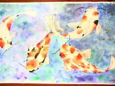 Koi Fish Watercolor and ink - Teacher Example - we studied Japanese scrolls and koi fish in the Japanese culture; students drew fish lightly w pencil; wet-on-wet watercolor with very small brushes for fish; wet-on-wet cool colors in BG; to finish off, ink very sketchily around outline of fish, eyes, and whiskers Student Drawing, Middle School Art Projects, Watercolor Fish, Japanese Art, Study Japanese, Painting, Watercolor And Ink, Art, Koi Art