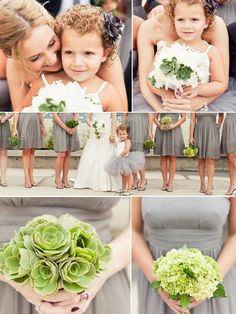 love everything about this wedding! grey + green. j. crew bridesmaid dresses. succulent, hydrangea, and orchids. flowergirl tutu!