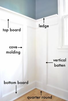 board and batten supplies: 1″ x 6″ (Don't use baseboards with a fancy top, just a plain ol' board will do.) Top Board: Same as above, 1″ x 6″ Vertical Battens: 1″ x 4″ Ledge: 1″ x 2″ Cove Molding: 3/4″ x 3/4″ Quarter Round: 3/4″ x 3/4″