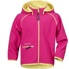 Didriksons' Freneka Kids Softshell Jacket in Fuchsia with neon yellow inner Softshell, Neon Yellow, Adidas Jacket, Hooded Jacket, Pink, Jackets, Outfits, Shopping, Clothes
