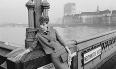 A 1961 photograph by Duffy for Vogue, top, with the model Judy Dent on Westminster Bridge, in London. Photograph: Brian Duffy
