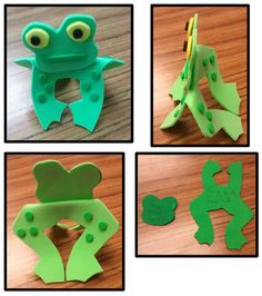Every Friday our Friday Playgroup (basically storytime for little kids) has crafts... which means I have to come up with a lot of simple things they can do within 15 minutes. Yeash. Not easy.    I came up with this one... sorta.  My parents worked at a daycare that went out of business, & we bought a lot of their stuff. On a piece of foam was the frog head & body & nothing else.  I constructed this based on that. We had foam sheets with sticky backs that I used a hole punch to make the…