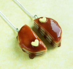 polymer clay pancake bff best friend necklaces friendship jewelry