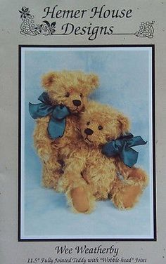 craft sewing pattern - Jointed Teddy Pattern - Wee Weatherby- Uncut