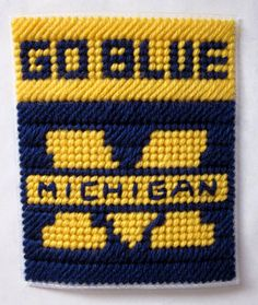 University of Michigan tissue box cover plastic canvas PATTERN ONLY