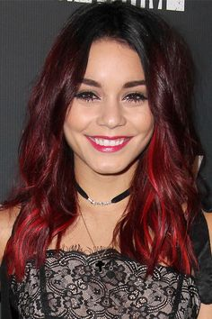 Vanessa Hudgens Wavy Burgundy Dark Roots, Peek-A-Boo Highlights Hairstyle | Steal Her Style