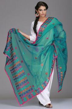 Tempting Turquoise Net Dupatta With Phulkari Embroidery