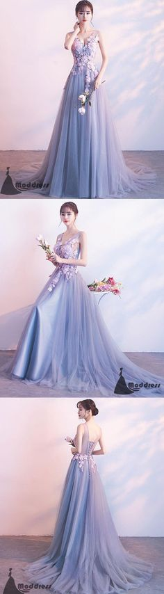 Applique Long Prom Dress V-Neck Evening Dress Tulle A-Line Formal Dress,HS513 #fashion#promdress#eveningdress#promgowns#cocktaildress