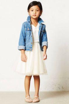 jean jacket, chiffon skirt, white tee, ballet slippers