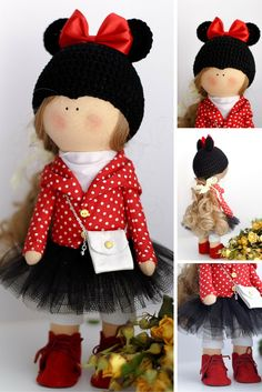 Love tilda doll Art doll Holiday doll handmade blonde red black colors Soft doll…