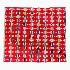String Quilt Top – Stripy String Diamonds   Mingei