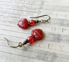 Red Earrings Ruby Earrings Heart Earrings Czech by SmockandStone