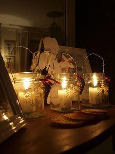 Snowflake etched jar lanterns