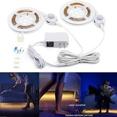 Motion Activated Bed Light, Huamai Flexible LED Bed Strip...