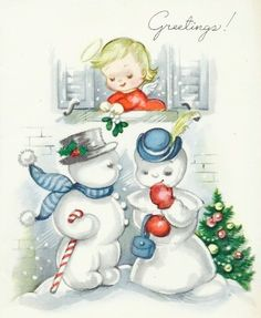 #candycanes Candy Cane Crazy. Vintage Christmas Greetings. Snowmen and Christmas Angels.