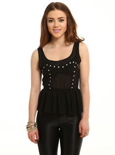 """https://www.cityblis.com/7022/item/5706  Damage Control Peplum Top - $30 by Living Royal  The stud detailing makes this damage control peplum shirt makes for a killer top for any classy outfit.   *100% polyester *Imported *Model wearing small MODEL INFO  Bella is a US size 2 Height: 5' 5"""" Bust:32"""" / Waist: 26"""" / Hips: 34"""""""