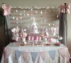 Mesa dulce o candy bar para bautizo de dulce dorotea en valencia Idee Baby Shower, Shower Bebe, Girl Shower, Pink Candy Buffet, Candy Table, Dessert Table, Candy Bar Bautizo, First Birthday Parties, First Birthdays
