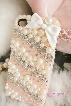 Cell Phone Case - pearls, bow, sequins