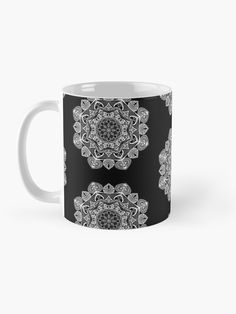 """ White Mandala Pattern - Just Let Go"" Mug by klyngiant   Redbubble Mandala Pattern, Letting Go, Let It Be, Mugs, Tableware, Artist, Stuff To Buy, Accessories, Dinnerware"