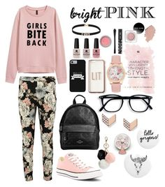 black \ pink by reinauni on Polyvore featuring polyvore fashion style Boohoo Converse Coach Jonas & Muse FOSSIL Missguided GUESS Victoria's Secret clothing cute casual white Pink black