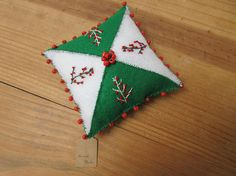 Christmas green red berry white hand embroidered felt
