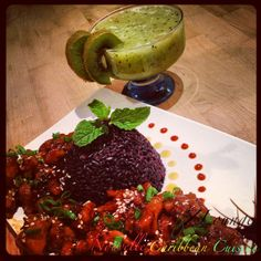 Chicken Teriyaki w Black Rice & Fresh Kiwi Juice | Photo & Food by NZINGHA for ZLounge: Nouvelle Caribbean Cuisine