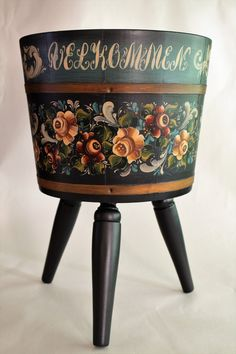 Norwegian Rosemaling ~Valdres Style ~ Wooden Plant Stand by Folkartbycathy on Etsy