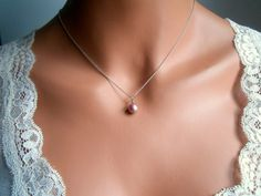 Pink pearl necklace bridesmaids gifts solitaire pearls by casamoda