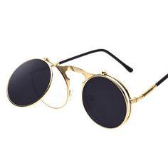 Hot Sale Vintage Steampunk Sungalsses Round Metal Frame Glasses clamshell  flip Sunglass Seam Punk Sun Glasses. Óculos De Sol ... 2e3592d692