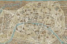 Monuments of Paris Map Blue - 36x24  - 36x24 by