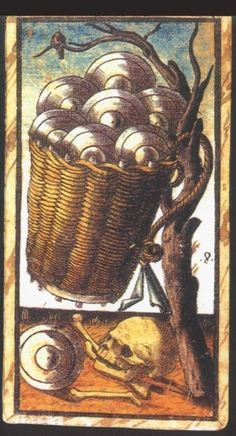 Eight of Coins:   Meaning of Eight of Coins from the Sola Busca Deck   Upright:   Financial desert. Funds tied up.   Reversed:   Treasure waiting to be found   source: Italian Tarot/Sola Busca/Italy, c.1491