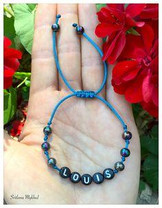 """Bracelet réversible """"Louis"""". bracelet homme, femme, enfant avec prénom ou message : Bracelet par perles-et-couronnes"""