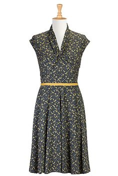 Womens Dress , A Line Dresses  1950s , 50s style, A-line, below-knee-length, business-casual, cinched-waist, contrast-trim, cotton, day, deep-V-neck, designer, dolman-cap-sleeve, dresses, fashion, fashions, feminine, fit-and-flare, fit-and-flare-dresses, floral, floral-print, for-women, full-figure, full-skirt, fun, high-waist, ladylike, modest, online, party, pleated, plus-size, pockets, pretty, print, rayon, retro, romance, shawl-collar, side-zip, travel, twill, whimsy, work,apparel