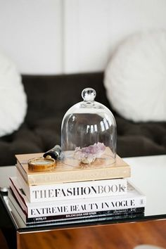 Bell jar on coffee table. Krystal Bick Style At Home Coffee Table Styling, Coffee Table Books, Decorating Coffee Tables, Style At Home, The Bell Jar, Bell Jars, Home Interior, Interior Styling, Apartment Chic