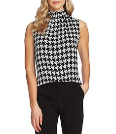 Vince Camuto Sleeveless Houndstooth Print Smocked Neck Blouse | Dillard's