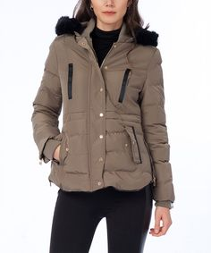Look at this #zulilyfind! Khaki Faux Fur Hooded Puffer Coat #zulilyfinds