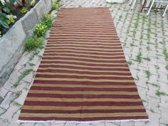 "flat weaving vintage turkish rug burgundy kilim 4'8"" x 10'1"" striped turkish rug handmade kilim rug area rug ethnic rug aztec rug"