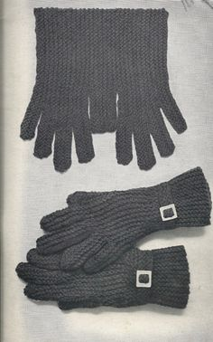 2 Needle or Sideway Knitted Gloves - Vintage 1960 Stitch Patterns, Knitting Patterns, Knitting Machine, Diy Home Crafts, Knitted Gloves, Garter Stitch, Fingers, Knits, 1960s