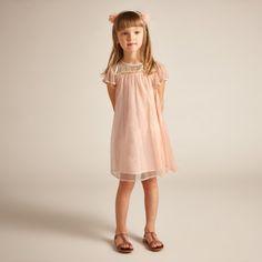 Pandora Dress - Shell Pink - Netting with shiny gold yoke