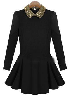 Amazon.co.jp: ビジューカラーフレアワンピース レディースカジュアル パーティ ドレス クリスタル レディースファッション ワンピース ブラックフォーマル F-13: 服&ファッション小物通販