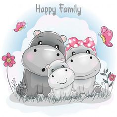 Find Cute Hippo Family Cartoon stock images in HD and millions of other royalty-free stock photos, illustrations and vectors in the Shutterstock collection. Baby Hippo, Cute Hippo, Baby Animals, Cute Animals, Cute Cartoon Animals, Cartoon Cartoon, Cartoon Drawings, Cute Drawings, Cartoon Hippo