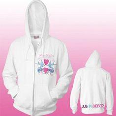 Justin Bieber - Love Birds Junior Zip Hoodie In White