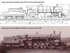 """Typový výkres lokomotivy řady 375.0 (zdroj """"Encyklopedie železnice, Parní lokomotivy ČSD 2"""") a tovární snímek zástupce řady - ZOBRAZ!"""