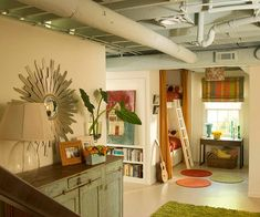 painted exposed basement ceiling