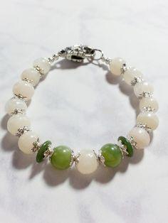 White and Green Jade Beaded Bracelet. Handmade Gemstone Floral Bracelet