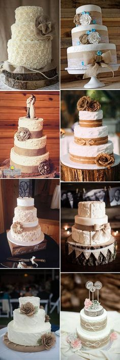 stylish rustic burlap accented wedding cake ideas