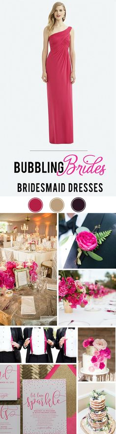Fuchsia, gold, and black are a stunning palette paired with the Virginia gown!  Wedding color palette inspiration