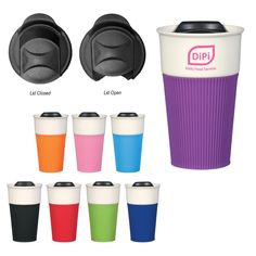 Enhance their morning commute with the stylish 13 oz. ceramic mug with a silicone accent! Featuring a spill-resistant slide action lid, this mug will fit most automotive drink holders. Meeting all FDA requirements, you can giveaway this product in confidence at your next tradeshow or as nice employee gift. With a variety of silicone accent colors available, an imprint of your logo or company name will stand out amongst the crowd. What a great way to be a part of your customers' morni...